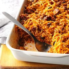 Southwestern Spaghetti Casserole Recipe -A close friend made this Mexican-Italian bake for me almost 20 years ago, and I've prepared it regularly ever since. It comes together in a snap because it relies largely on convenient ingredients I keep on hand. We like it with a loaf of crusty bread. —Rose Turner Minnick, Christiansburg, Virginia