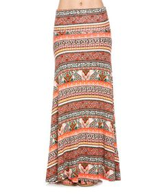Another great find on #zulily! Frumos Coral & Red Geometric High-Waist Maxi Skirt - Plus Too by Frumos #zulilyfinds