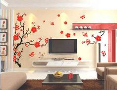 Charming Plum Blossom Flower Removable Vinyl Wall Stickers Mural Home Art Decal Kids Room Decor (Large 90*60cm)