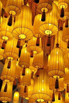 The Painted Bench - Yellow Lanterns #lights