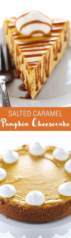 Everyone's FAVORITE Thanksgiving dessert, HANDS DOWN! Salted Caramel Pumpkin Cheesecake is SO MUCH better than boring pumpkin pie!!