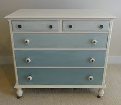 LOVE!  Ombre Dresser {shades of blue}.  Annie Sloan Chalk Paint Old White over all, then custom blend of Duck Egg Blue to get ombre look.   https://www.facebook.com/casualfridayliving