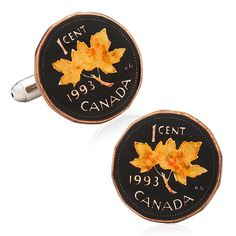 Hand Painted Canadian Penny Coin Cufflinks, Penny Black Forty by Cufflinskman