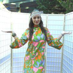 Vintage 60's Psychedelic Boho Maxi Dress . Neon Colored Cotton Caftan /Orange Pink Lime Lavender . Turtleneck Tunic . Bell Sleeves . Mad Men
