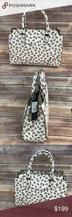 Rebecca Minkoff Amorous Satchel Tote Purse Rebecca Minkoff Amorous Satchel Tote  Berry Smoothie Multi  Creamy White Background with Mauve Flowers  NWT Rebecca Minkoff Bags Crossbody Bags