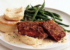 Chicken-Fried Skirt Steak with Country Gravy - Bon Appétit Basil Vinaigrette Recipe, Beef Recipes, Cooking Recipes, Cooking Beef, Cooking Ideas, Chicken Recipes, Great Recipes, Favorite Recipes