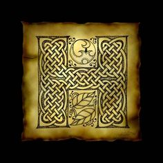 """""""Celtic Letter H"""" by Kristen Fox: An original, hand-drawn letter H from the full alphabet done in Celtic style, with intricate knotwork, spirals, and leaves, on a faux parchment background on a black field. A wonderful monogram pri..."""