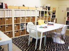 Office storage, multi-user desk, and rug