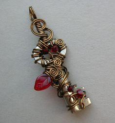 wire wrap key jewelry with stones | ... Wire Wrapped Key Pendant -- Fairy Jewelry -- Bronze Wire -- Forest Key