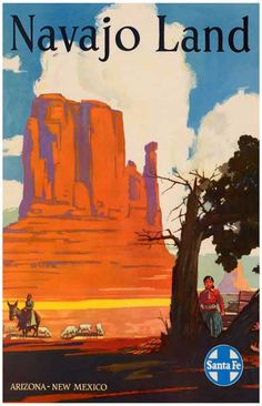 Santa Fe Railroad Navajo Land Travel Art Poster 11x17