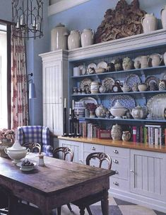 Blue and white breakfast room. I used to be all about blue and white, still think it is very pretty. Kitchen Design, Kitchen Decor, Kitchen Dresser, Nice Kitchen, Kitchen Interior, Blue Rooms, Blue Walls, Cottage Interiors, French Country Decorating