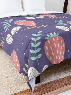 'Pretty Strawberry Fruit Garden' Comforter by Pamela Arsena Purple Wall Art, Orange Wall Art, Purple Walls, Boho Comforters, King Size Comforters, Purple Home Decor, Spring Home Decor, Eclectic Bedding, Pineapple Wall Decor