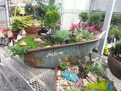 Fairy garden in a wheel barrel
