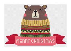 Christmas Bear Cross Stitch Pattern Digital Download Modern