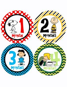 Instant Download Snoopy Peanuts Monthly Stickers Month to Month Birthday Baby Shower Gift DIGITAL FILE