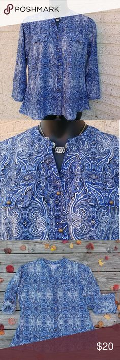 Laura Scott Split Neck Blue Paisley Shirt-1X Shirt is new. It runs small. Measurements are bust 44 inches and 28 inches in length. Originally sold for $44.  If you have any questions please, feel free to contact me. Thanks! #nwt #trendy #chic Laura Scott Tops