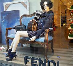 Sitting Out    Fendi window display along Fifth Avenue.