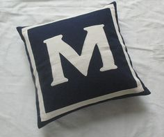 monogrammed pillows -20 inches navy and white. $29.99, via Etsy.