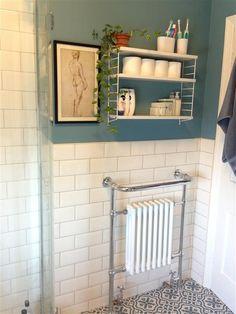 David print by Michelangelo from British Museum Shop. Stone Blue by Farrow & Ball Metro Tiles Bathroom, White Bathroom Tiles, Bathroom Flooring, White Tiles, Bathroom Cabinets, Edwardian Bathroom, Modern Vintage Bathroom, Upstairs Bathrooms, Downstairs Bathroom