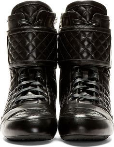Balmain - Black Quilted Leather High Top Sneakers.