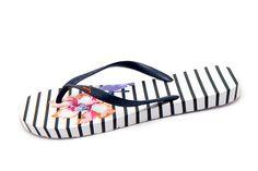 7d8f76a57d9c Joules Sandy Rose Stripe White Floral Print Women s Flip Flops