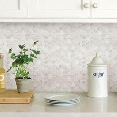 Self Adhesive Backsplash Tiles, Hexagon Tile Backsplash, Peel Stick Backsplash, White Kitchen Backsplash, Peel And Stick Tile, Stick On Tiles, Wallpaper Backsplash Kitchen, Hexagon Tiles, Kitchen Splashback Ideas
