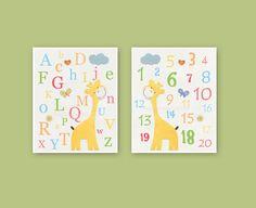 Nursery wall art Decor, Children Art print, play room art, Alphabet, numbers, set of 2 11x14, yellow giraffe, orange, green, pink, blue. $48.00, via Etsy.