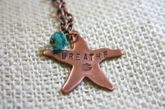 Metal Stamped Necklace Copper Starfish BREATHE Lotus Flower