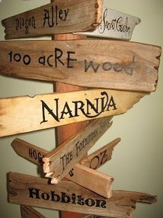 Storybook signposts! Perfect for a kids room! love it if there was nothing about Harry Potter on it. :P