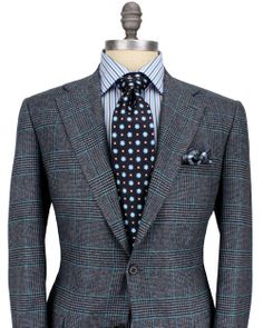 Kiton | Grey Glen Plaid with Turquoise Windowpane Sportcoat | Apparel | Men's