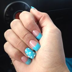 Winter nails :) Or all nails solid baby blue with white polka dots and no half tips.?.