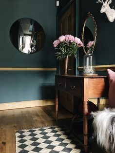 Farrow and Ball Inchyra blue hallway; dark dramatic interior design
