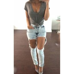 High Waisted Denim Jeans w/Oversized Rips