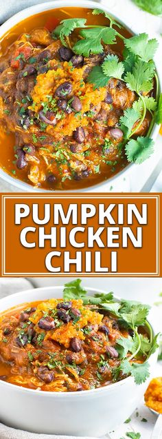 Instant Pot Pumpkin Chicken Chili is a quick and easy chili recipe to bring in the Fall season!! Since this pumpkin chili recipe is made in the Instant Pot you can enjoy your healthy, dairy-free, and gluten free dinner recipe in a fraction of the time. #evolvingtable #instantpot #chili #pumpkin #chicken #football Gluten Free Recipes For Dinner, Fall Dinner Recipes, Gluten Free Chili Recipe, Fall Meals, Fall Recipes, Dinner Ideas, Chilli Recipes, Healthy Chili Recipes, Chicken Recipes