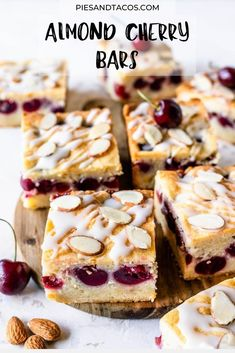 Almond Cherry Bars #cherry #bars #almond #cookies #breakfast #picnic #brunch #chewy Cherry Bars, Almond Bars, Dessert Recipes, Desserts, Camembert Cheese, French Toast, Picnic, Cookies, Breakfast