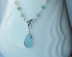 Steely Blue Aquamarine Briolette Gemstone Necklace Wire Wrapped with Sterling Silver