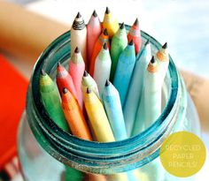 Recycled paper pencils!