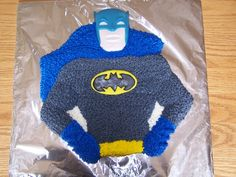 Batman cake- love this old Wilton pan. Plan to outline in black for more definition next time