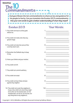 Worksheet 10 Commandments Worksheet to be activities and the ojays on pinterest ten commandments in your own words kids korner biblewise