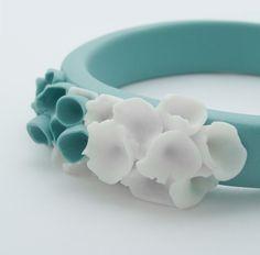 Bracelet Bangle ,  Cottesloe Ceramic Bangle,Turquoise and White. $98.00, via Etsy.