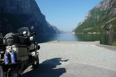 BMW R1200GS - Lysebotn, Norway looking at the fjord.