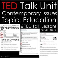 TED Talk Unit- Contemporary Issues (Education). This unit is appropriate for most high school-level Social Studies and English classes. What is included in this product?-Instruction page-Cover page-Lessons:Build a School in the CloudDo Schools Kill Creativity?Grit: The Power of Passion and PerseveranceHow Americas Public Schools Keep Kids in PovertyThis is What its Like to Go Undercover in North KoreaWant Kids to Learn Well?