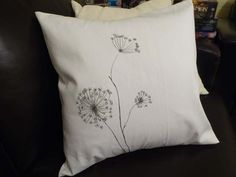 Hand painted cushion cover. Cotton cushion cover. Black and white. Queen Annes lace. Art cushion. Botanic drawing. Custom cushion cover.