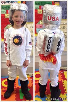 Astronaut costume I made for AJ's space camp in first grade. Used iron on transfers to make the shirt. Utz pretzel container for helmet. Two litre bottles, tissue paper and foil for turbo blasters. White baseball pants and snow boots complete the costume.