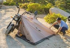Nomad2 #MotorcycleTent @AbelBrown – MotorCove : Best Camping Gear, Camping Life, Tent Camping, Motorcycle Tent, Motorcycle Adventure, Outdoor Survival, Outdoor Gear, Coast Guard Boot Camp, Survival Fire Starter
