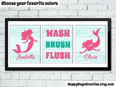 Set Of 3 Little Mermaid Bathroom Rules Girl S Bathroom Decor Mermaid Decor Kids Bathroom Decor Sisters Personalized Wall Art