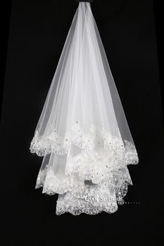 2015 Fashion Wedding Veils with Crystals Best Selling Wedding Accessories Bridal Veils Long Ivory Appliques Lace Edge