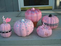 I made these pink pumpkins for a breast cancer awareness display at work. I did a very quick count just now and came up with fourteen. Breast Cancer Party, Breast Cancer Wreath, Breast Cancer Crafts, Breast Cancer Fundraiser, Breast Cancer Walk, Pink Halloween, Halloween Pumpkins, Halloween Crafts, Holiday Crafts