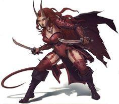 f Tiefling Rogue Thief short swords cape