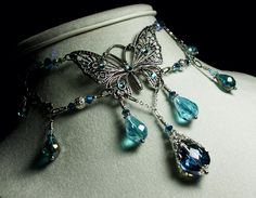 Peacock Blue Green Crystal Antiqued Silver by TitanicTemptations